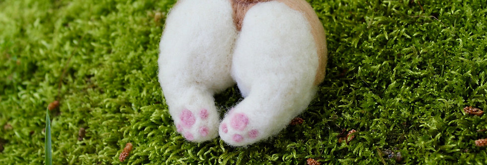 Felted Corgi Butt Hair Clip or Pin