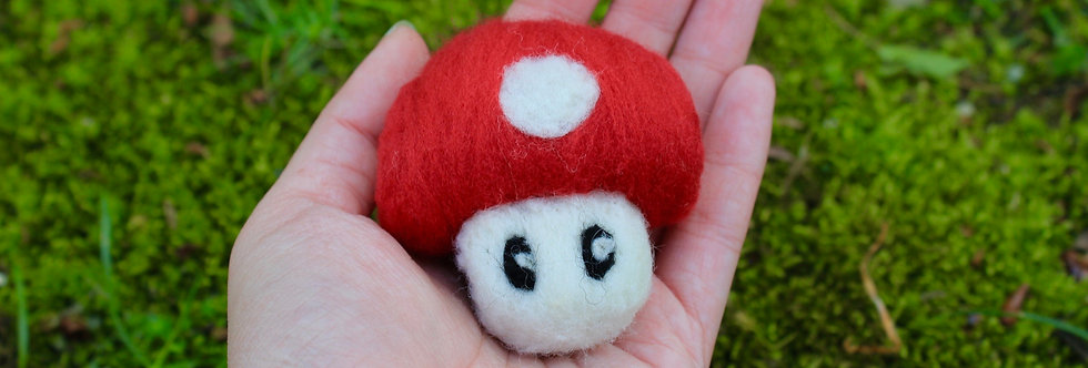 Felted Red Spotted Mushroom