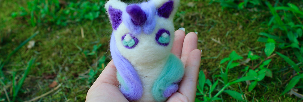 Felted Purple and Green Unicorn