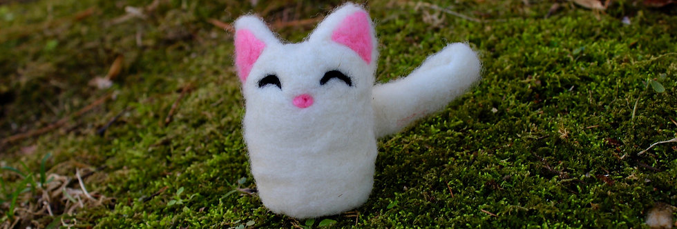 Felted Chibi White Cat