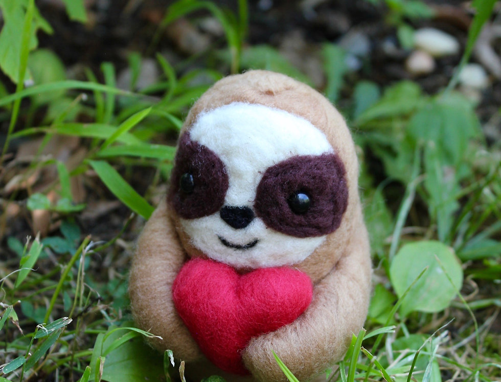 Felt Light Brown Sloth with Heart