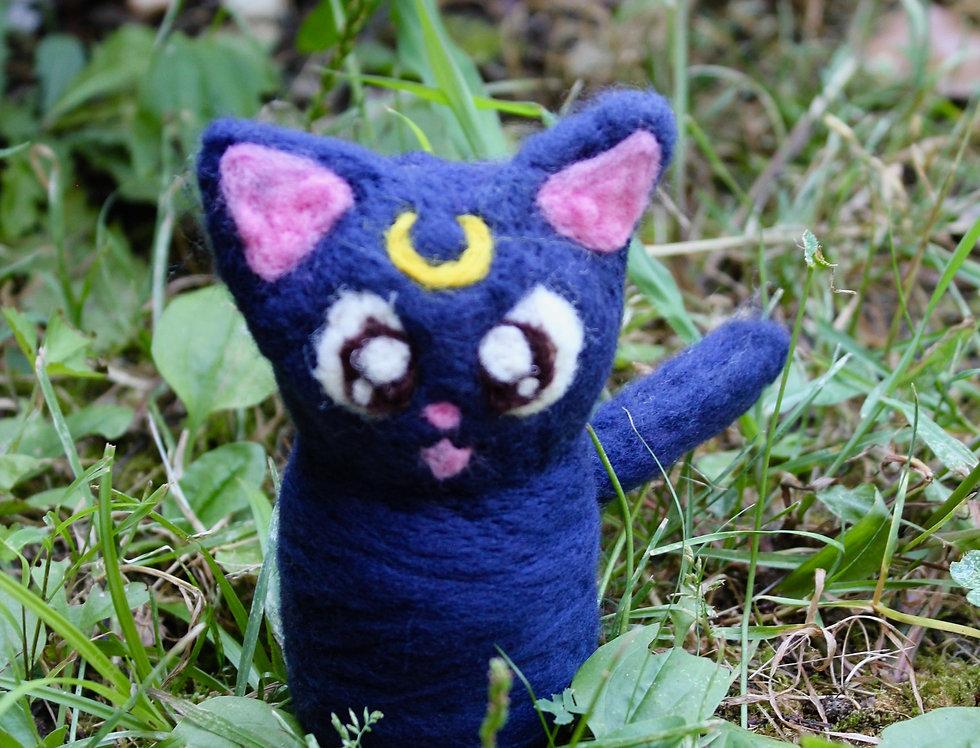 Felt Purple Moon Cat