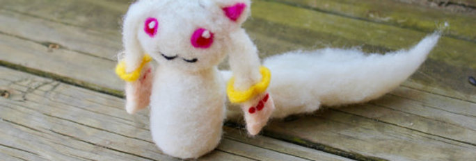 Felted White Cat Fantasy Creature