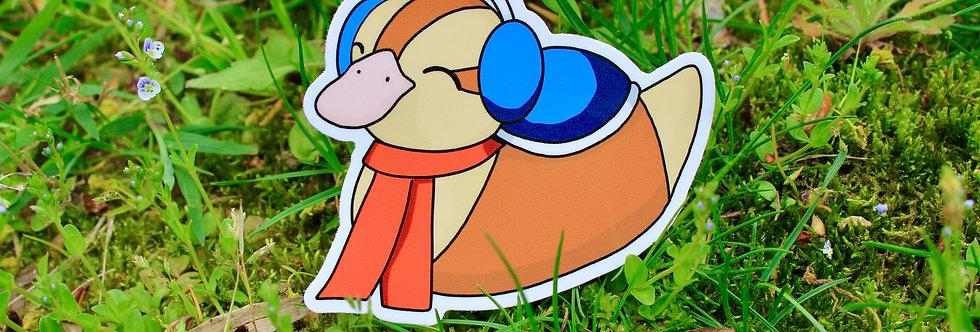 """Winter Weather Baby Turtle Duck 3"""" Vinyl Sticker"""