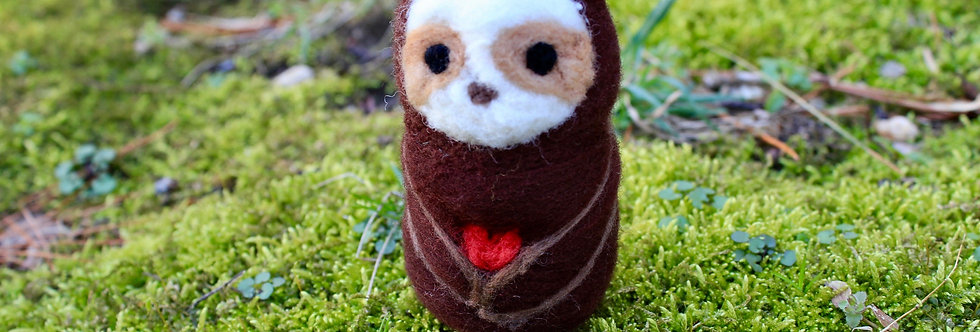 Felted Chibi Brown Sloth