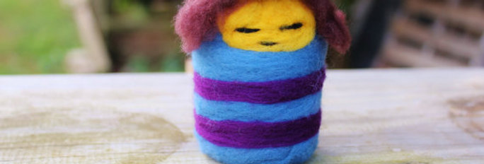 Felted Blue and Purple Girl