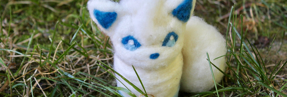 Felted White Ice Cloud Fox
