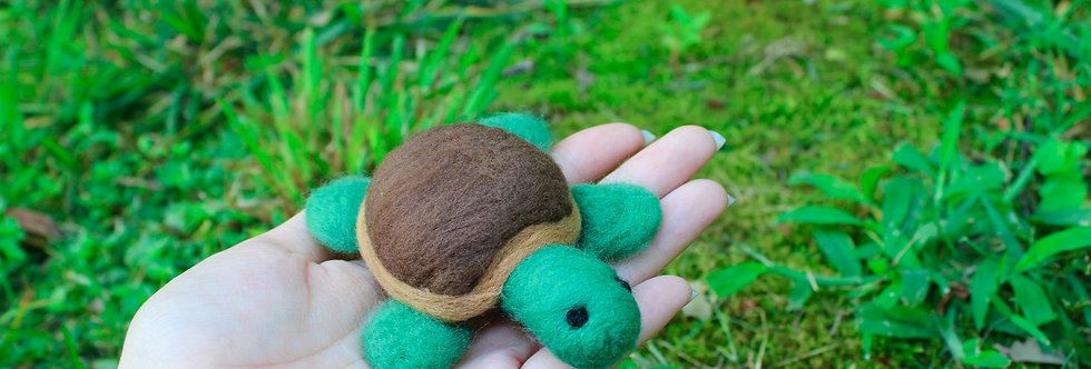Felted Green Turtle with Brown Shell