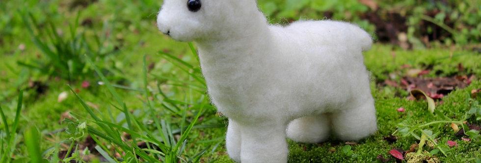 Felted White Alpaca Sculpture