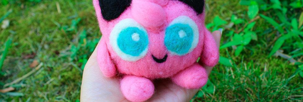 Felted Pink Puff Creature Sculpture