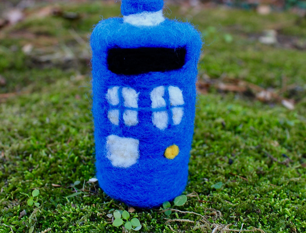 Felted Blue Police Box