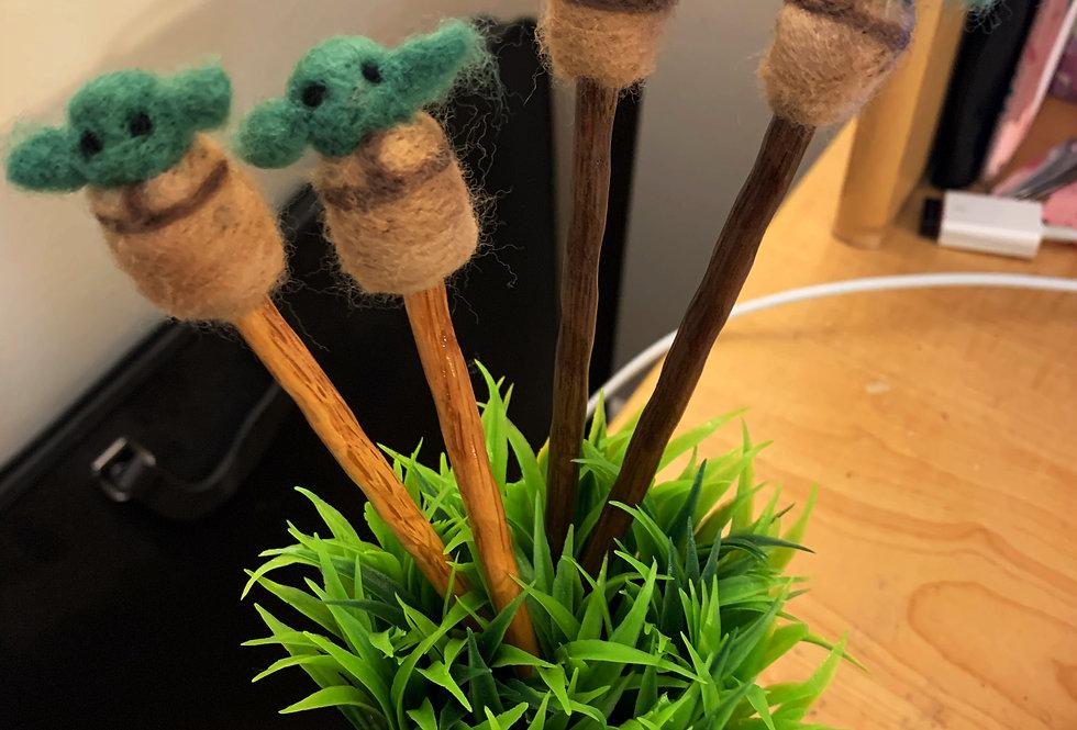 Felted Baby Green Child Hairsticks