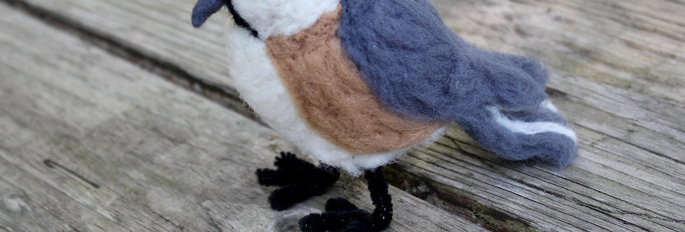 Felted Chickadee Bird Sculpture