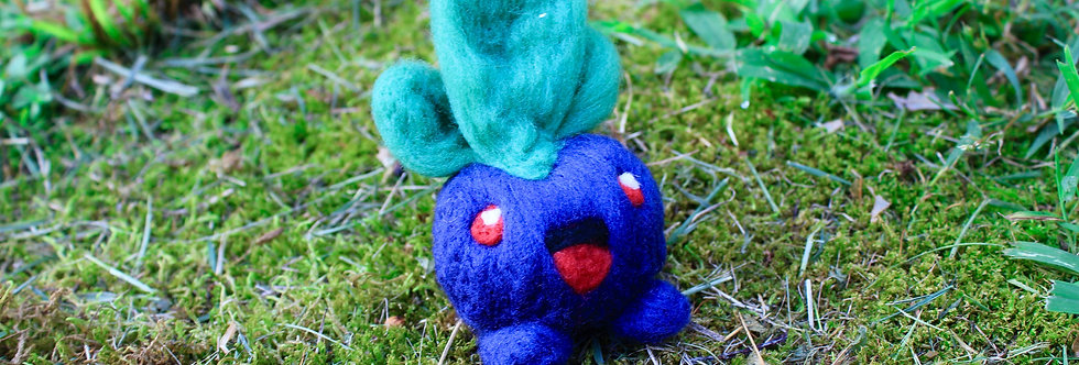 Felted Blue Plant Creature