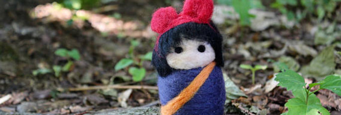 Felted Witch with Red Bow