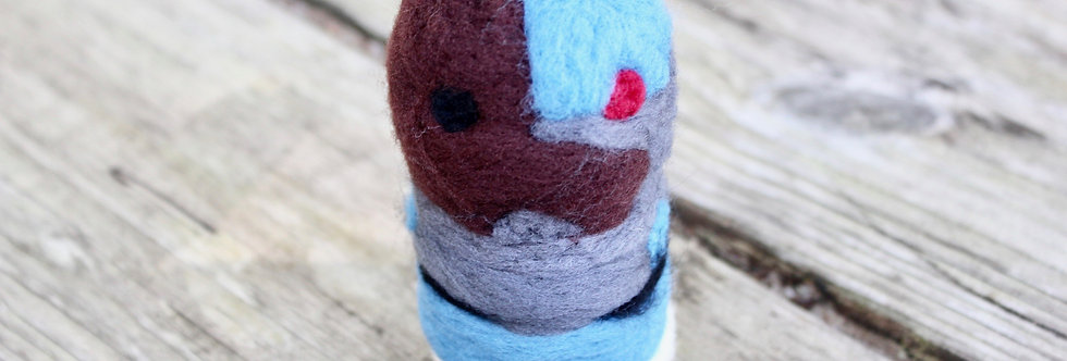 Felted Cyborg Guy Sculpture