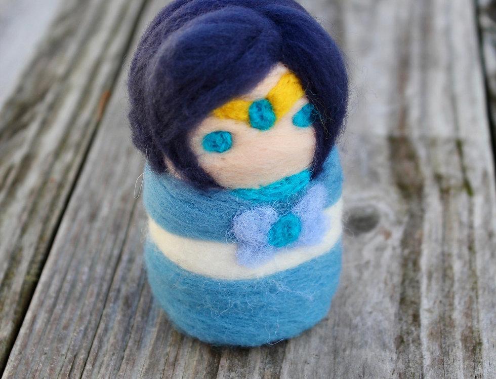 Felt Blue Sailor Scout Sculpture
