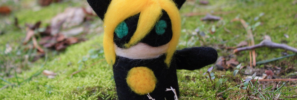 Felted Cat Noir Sculpture