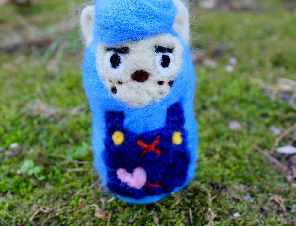Felted Blue Alpaca Villager