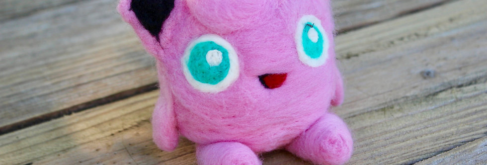 Felted Pink Puff Creature Sculpture
