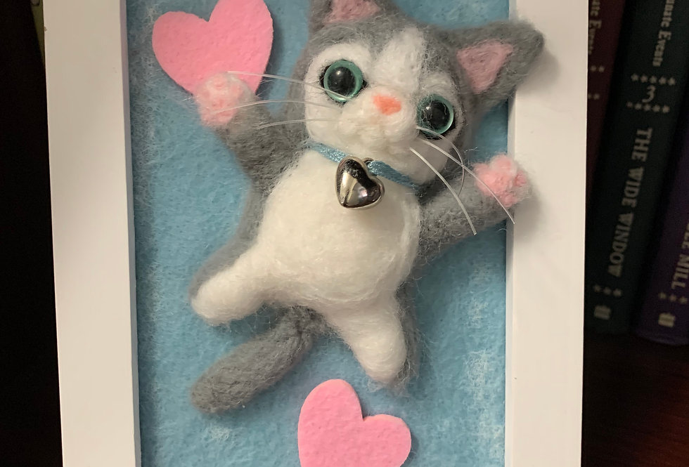 Framed Grey and White Felted Cat