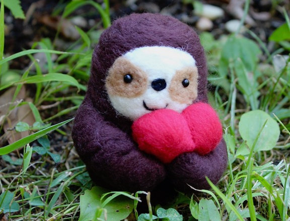 Felt Dark Brown Sloth with Heart