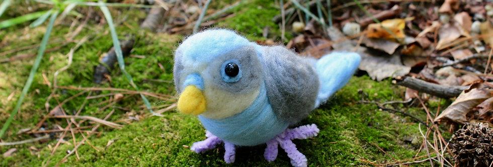 Felted  Blue Budgie/Parakeet Bird Sculpture