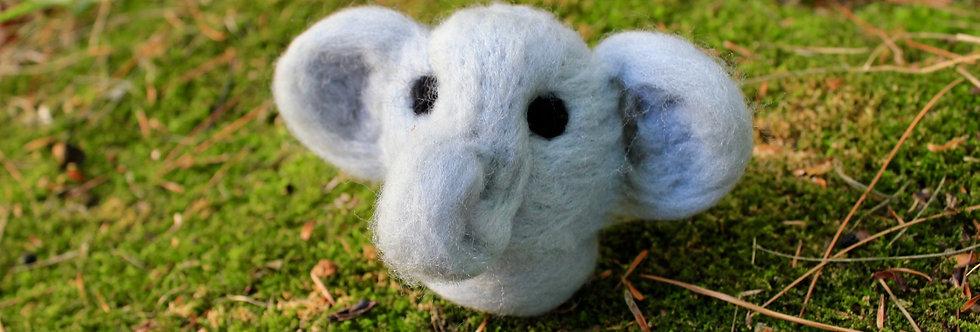 Felted Chibi Grey Elephant