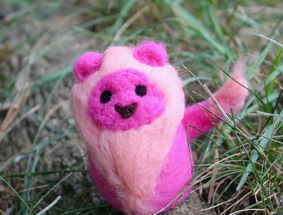 Felted Pink Lion