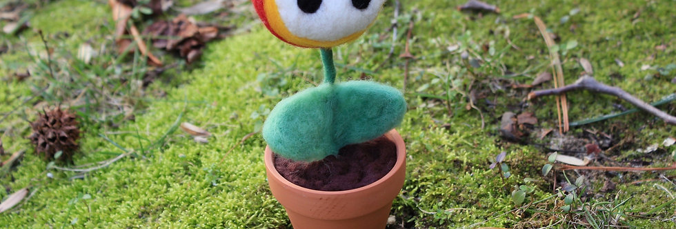 Felted Fire Flower in Clay Pot