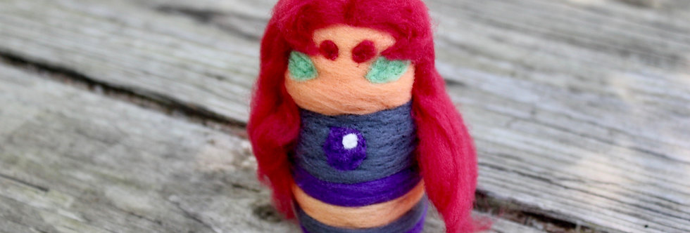 Felted Star Fire Girl Sculpture
