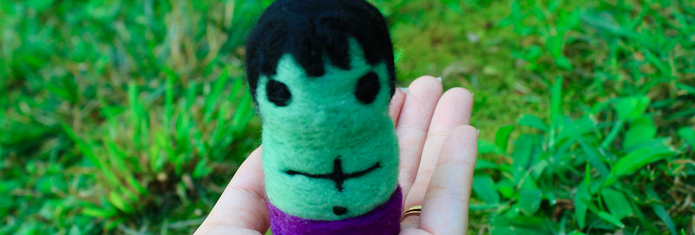 Felted Green and Purple Monster