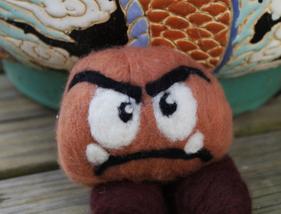 Felted Brown Frown Creature