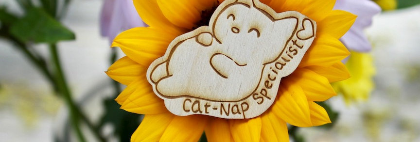 Cat Nap Specialist Wood Burned Pin