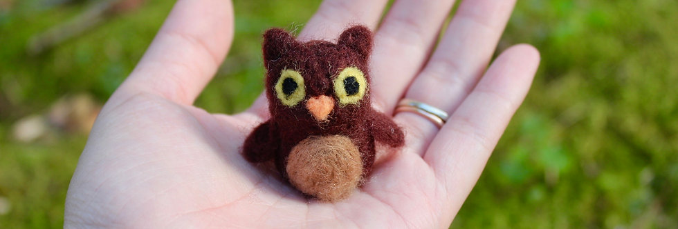 Felted Tiny Baby Brown Owl