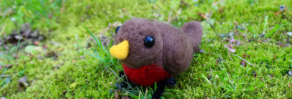 Felted Robin Bird Sculpture