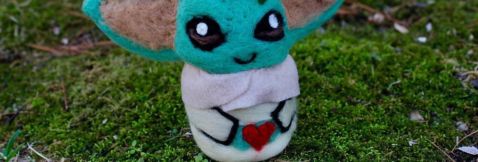 Felted Big Green Alien with Frog