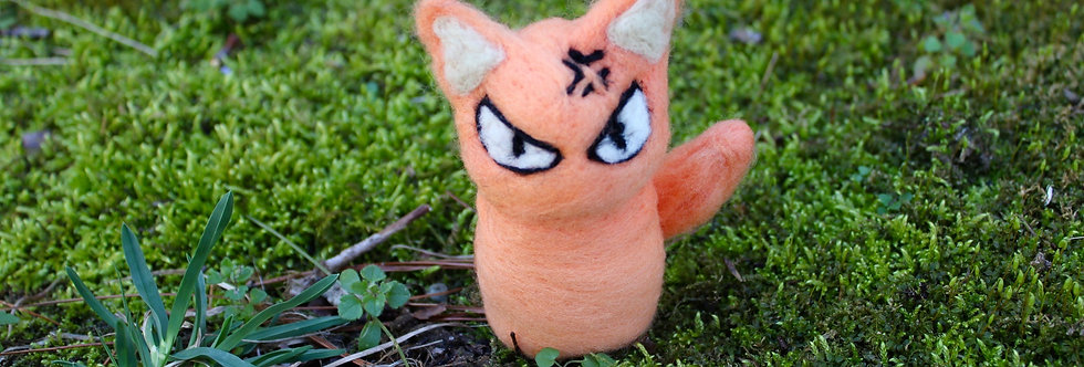 Felted Angry Orange Cat