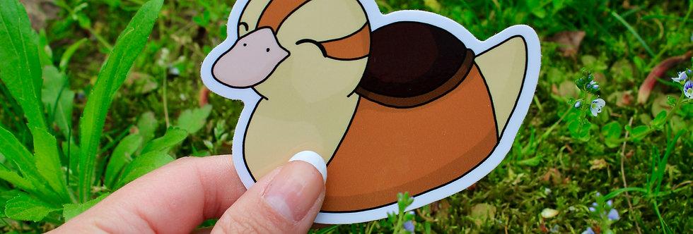 """Close Eyed Baby Turtle Duck 3"""" Vinyl Sticker"""