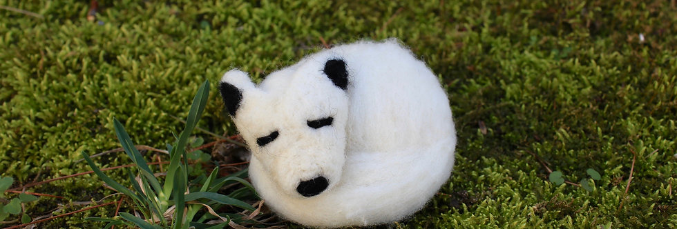 Felted White Fox Wolf