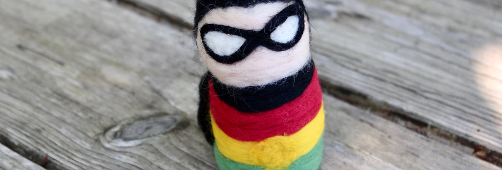 Felted Robin Boy Sculpture