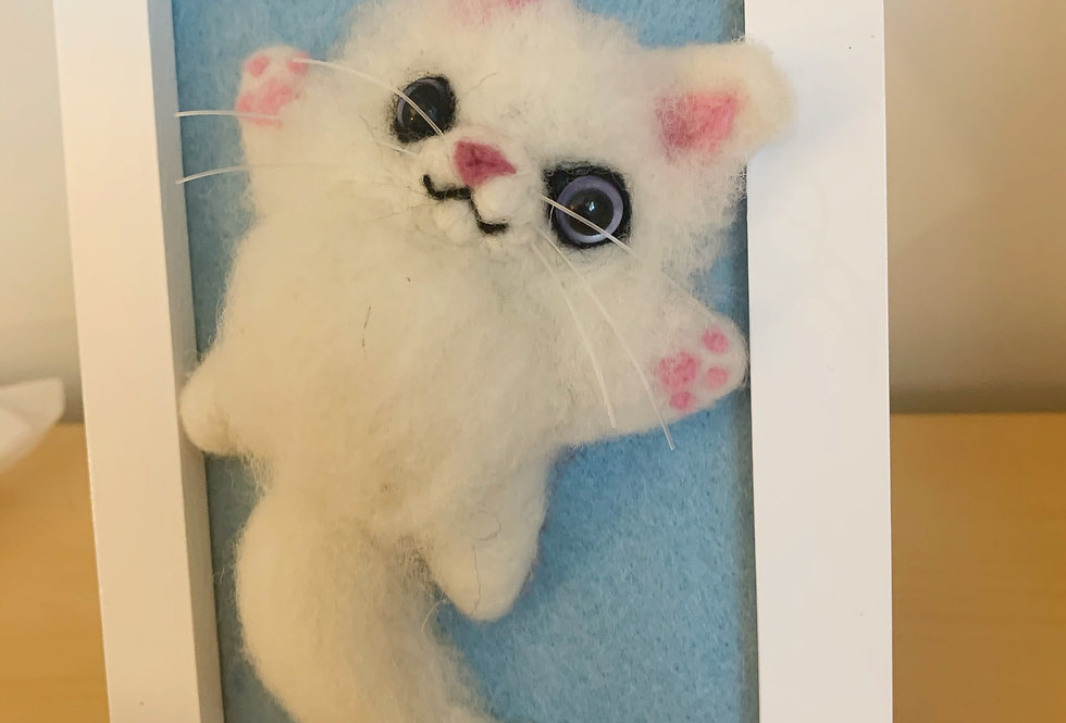 Framed White Felted Cat