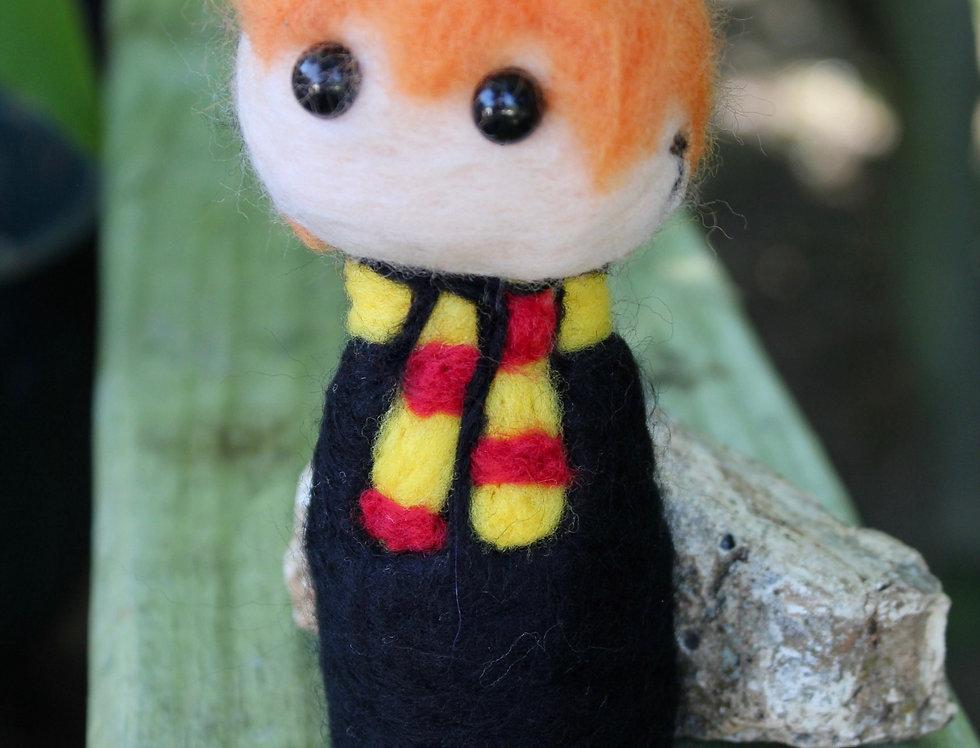 Felted Orange Wizard Boy Sculpture