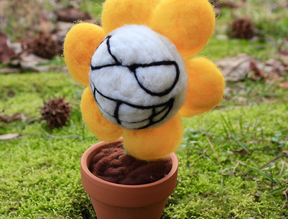 Felted Flowey the Angry Flower