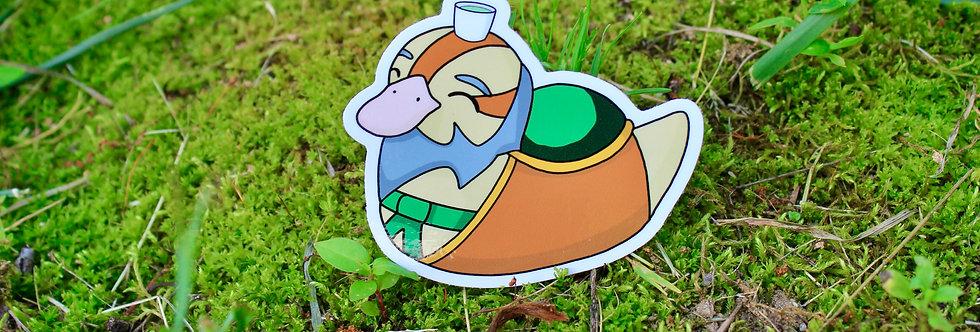 "Tea Uncle Baby Turtle Duck 3"" Vinyl Sticker"
