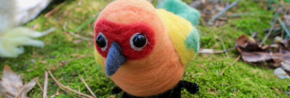 Felted Sun Conure Bird Sculpture