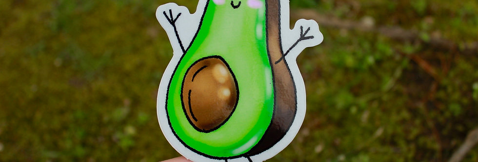 "Happy Avocado 4"" Vinyl Sticker"