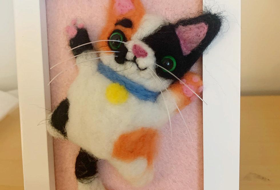 Framed Calico Felted Cat