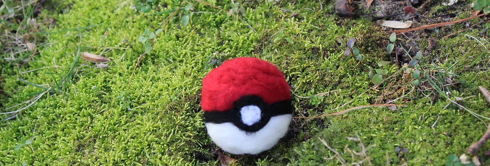 Felted Red and White Capture Ball