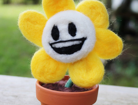 Felted Happy Flowey Flower